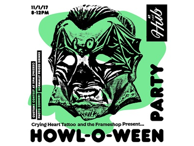 Howl-O-Ween mask halloween party flyer