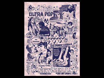 Ultra Pop's 7th Annual XXX Art Show pr0n gig poster flyer smut xxx