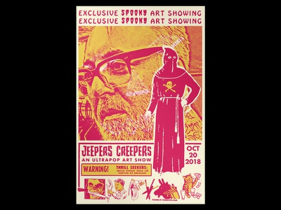Jeepers Creepers typography xerox design skull cut art print hand drawn collage gigposter flyer