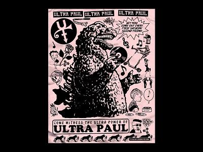 Ultra Paul at Meta paste cut skull design xerox illustration hand drawn art print flyer artwork gig poster flyer