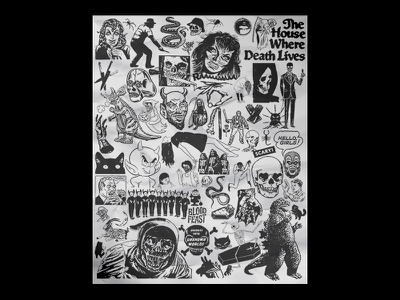 Halloween Art Show Piece drawing xerox skull poster paste hand drawn collage art