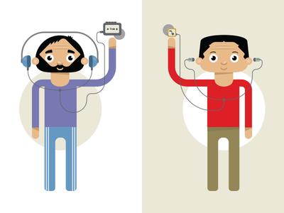 Generation Gap character illustration flat pictogram vector infographic
