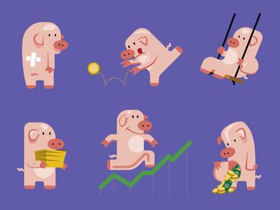 Piggy Bank character adobeillustrator vector illustration
