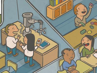 Modern Schools newspaper vector illustration isometric