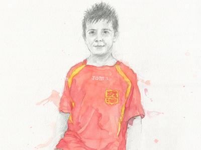 Javier drawing pencil watercolor portrait