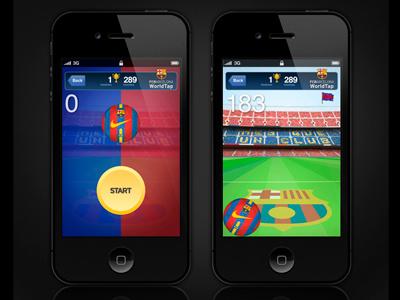 FCB WorldTap barcelona app mobile design iphone football game ball barça fcb world tap