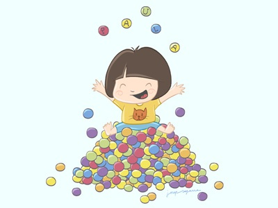 Paula kids illustration balls infantil funny happines happy color