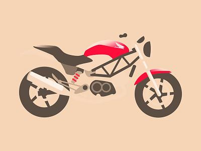 Honda VTR 250 red motorbike vectorial illustration vtr bike moto honda