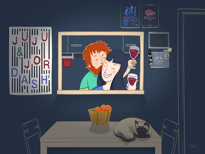 #27 home love couple wine house cat drawing illustration