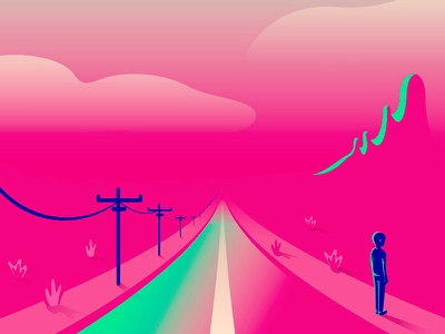 On the road pink drawing design loneliness alone desert man colorfull vector illustration road