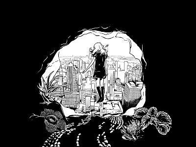 The city city girl black drawing illustration