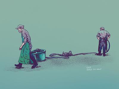 Fish sellers in Tokyo digitalartist drawing ink ipad procreate app illustracion illustration art
