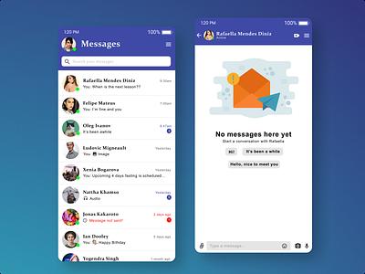 Direct messaging app ux ui design illustration graphic design