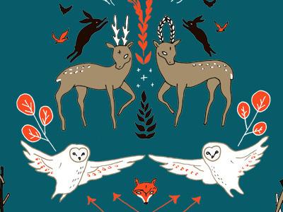 Woodland Spirits Ornamentals forest animal owl fox deer bunny pattern textile