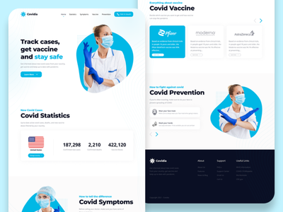 COVID - Landing page / UI Design facemask moderna astrazeneca pfizer vaccine covid19 coronavirus covid website ui uiux landing page inspiration figma design