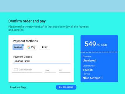 Simple Checkout page (Desktop) inspired by Disoft 002 dailyui ui ux design