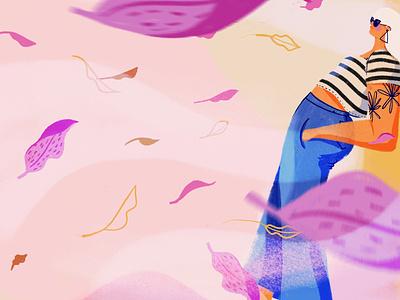 Autumn is almost here wind leaf autumn leaves autumn yellow illo girl design ipad digital digital illustration illustration