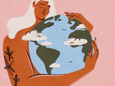 Earth day character woman illustration editorial illustration creativedirection branding procreate design girl digital digital illustration illustration