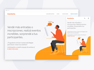 Argentina Sales Landing Page eventbrite illustration contact ui orange landing