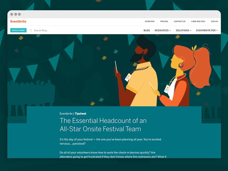 Digital Tipsheet tip sheet festival illustration digital eventbrite web design