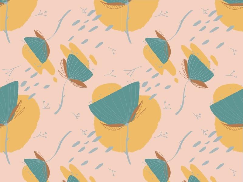 Dandelion pattern pattern a day pattern pink ipad procreate digital illustration illustration