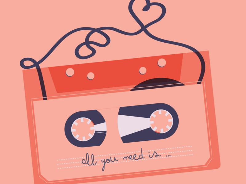 Eventbrite Valentines email cover retro love tape valentine valentine day email cover design digital illustration eventbrite illustration