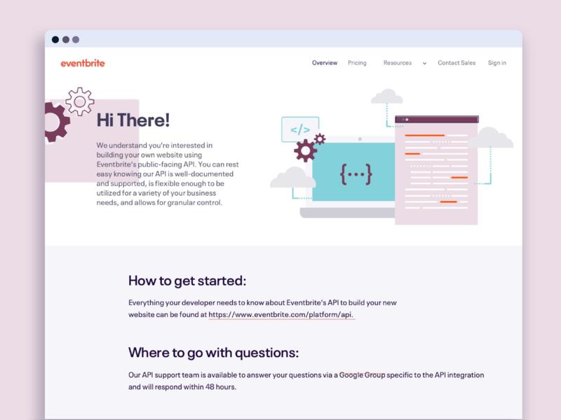 Eventbrite API Faqs Landing Page web design uidesign ux design eventbrite api landing design landing page faqs web illustration