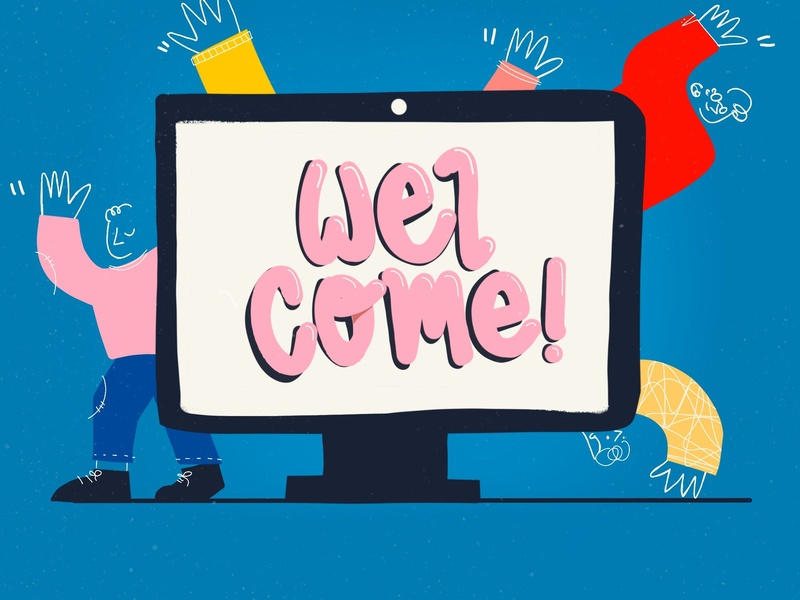 Welcome to the team! onboarding welcome people vector illustrator blue design ipad digital procreate digital illustration illustration