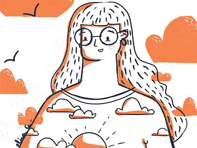 Happy orange character design character girl character orange illustrator illo design girl ipad digital procreate digital illustration illustration