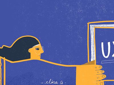 Girl reading character girl character illustration art illustration purple truegrit procre woman girl
