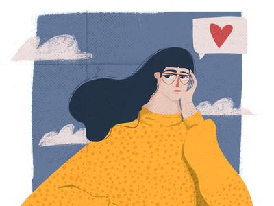 Are you? thinking girl illustration yellow woman procreate illustration