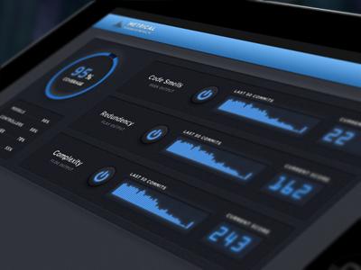 Code metrics app metrics dashboard ipad dials chart graph skeuomorphic buttons dark