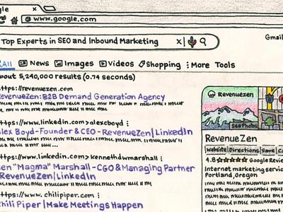SEO RevenueZen design logo branding illustration