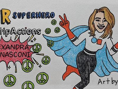 SDR Superhero: Alexandra logo branding illustration