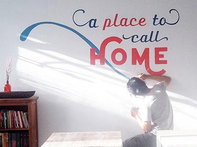 Mural for Koplins Place wall art typography type mural lettering