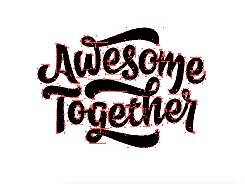 Awesome Together - Bezier goodtype vectorart vector lettering art handlettering typography lettering beziers