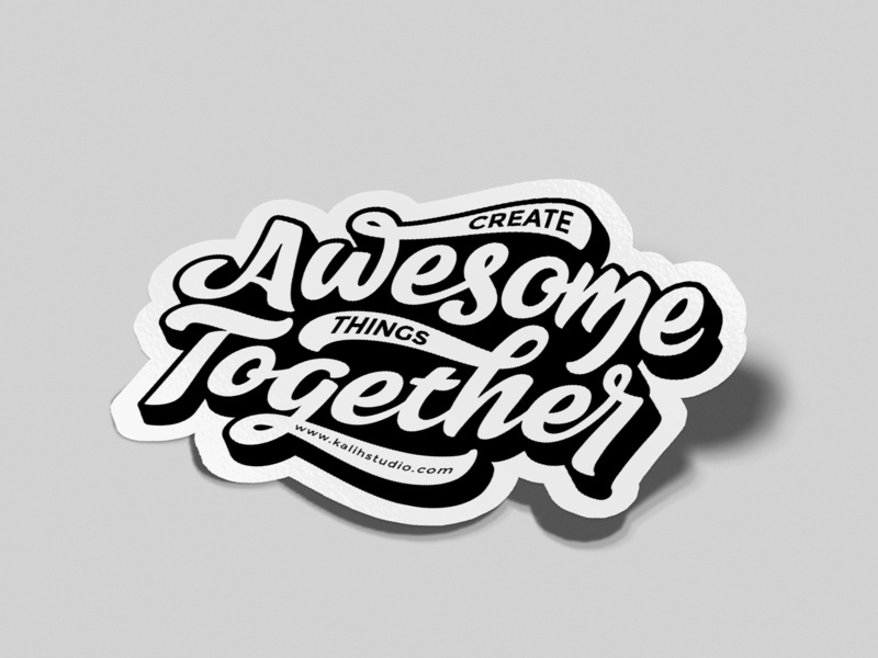 Awesome Together Sticker design type vector typography hand type handlettering stickers lettering