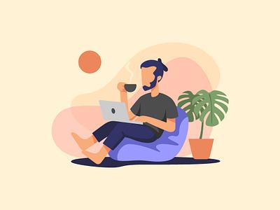 Work & Coffee outdoor summer coffee working design illustration vector flat illustration