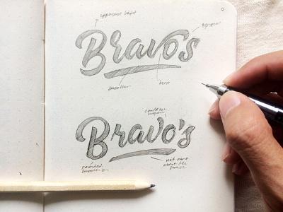 Bravo's Lettering logo design sketchbook sketch hand type script brush lettering type hand lettering lettering typography
