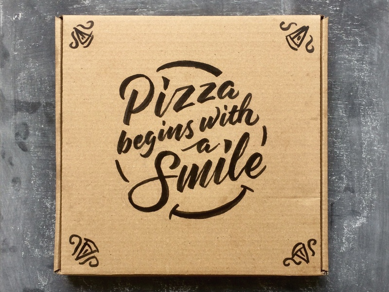 Lettering on Pizza Box 🍕 type typography hand lettering pizza box lettering pizza