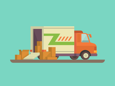 Delivery Truck car van shipment delivery moving cargo shipping truck illustration vector flat kit8