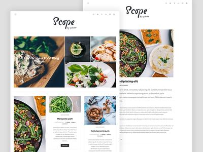 Scope blogging blog food ux ui theme homepage masonry genesis clean