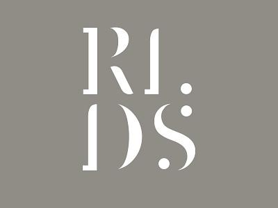 Rlds Logo stencil font college studio design identity logo