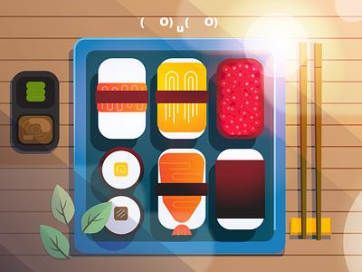 Do you like sushi? 🍣 2d food sushi bento box anime food japanese food japanese culture japanese