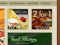 Catering company website layout