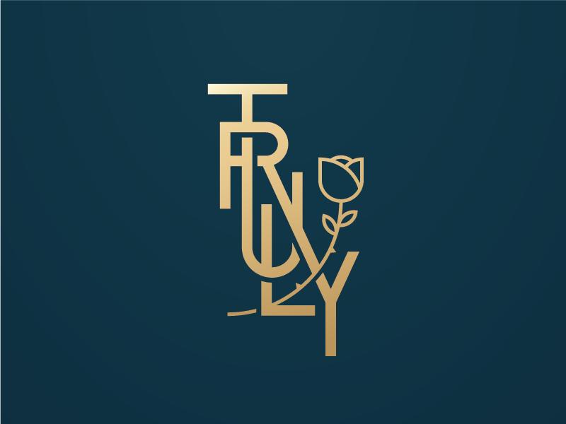Truly Rose rose lettering gold monogram