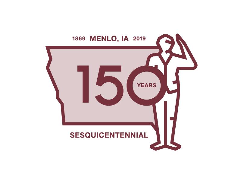 Menlo, IA Logo salute celebration sesquicentennial town iowa anniversary logo