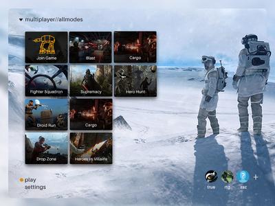 Star Wars Battlefront menu redesign