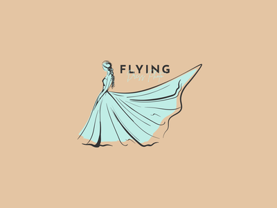 Flying Dress Photo wedding dress feminine design illustration branding minimalist logo line art line logo apollostudio