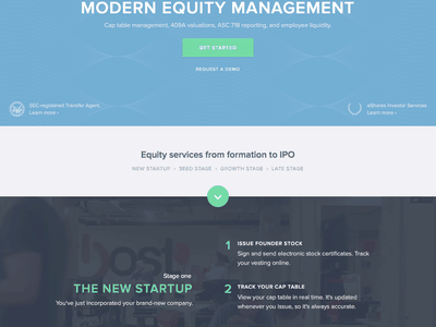 eShares homepage navigation guilloche fintech hero homepage